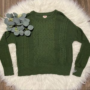 Mossimo Olive Green Cable Knit Sweater